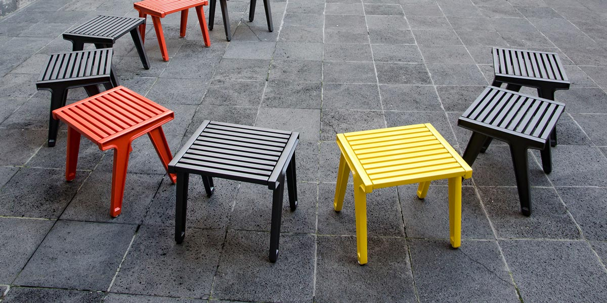 Línea Alma. Mobiliario para exteriores de aluminio reciclado.